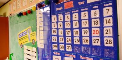 Busy Preschool classroom wall, calendar