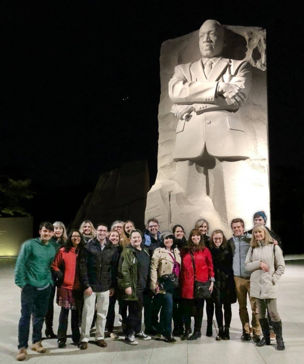 ARTS Participants in front of MLK Memorial at night